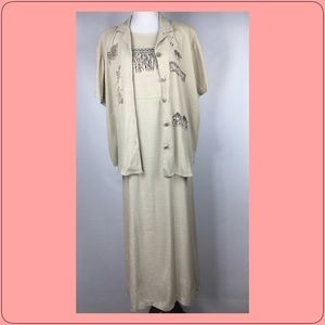 Vintage Teddi 2 PC Maxi Dress XL Beige Safari